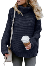 Navy Cozy Long Sleeves Turtleneck Sweater