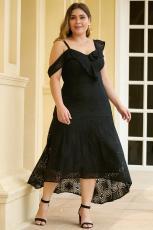 Black Asymmetric Ruffle Shoulder Design Plus Size Lace Dress