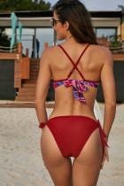 الأحمر مطبوعة الأعلى الذاتي اللباس الداخلي ملابس السباحة