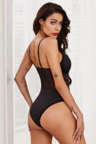 Zwart Sheer Lace-up bodysuit