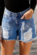 Sky Blue Clubhouse Shorts Denim Distress High Rise Distress