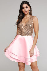 Heart Broken Pink Gold Payet Multi Layer Skater Dress