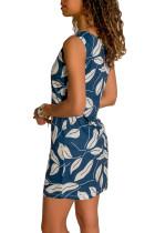 Синее платье-майка с принтом листьев