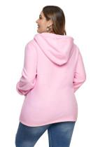 Pink Zip Neck Drawstring Plus Size Hoodie