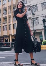 검은 여름 Buttoned Casual Shirt Maxi Dress