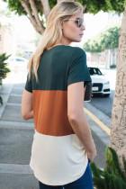 Orange färgblock V-hals T-shirt