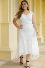 화이트 비대칭 주름 어깨 디자인 플러스 사이즈 레이스 드레스