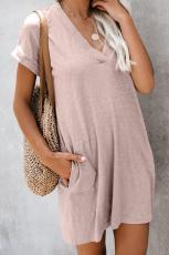 코 튼 블렌드 포켓 된 티셔츠 드레스를 재생하는 핑크