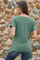 Yeşil Wrap Kendinden Kravat Bel Kısa Kollu Üst