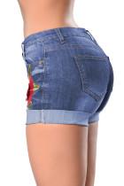 Вышитая манжета с вышивкой Rose Синие джинсовые шорты