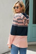 Roze hoodie met kleurblok en trekkoord