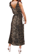 Sukienka z paskiem na ramiączkach w paski Leopard Bowknot
