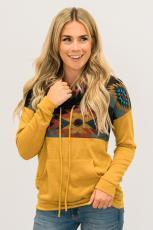 Gul Aztec Cowl Pullover-hættetrøje