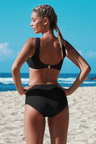 Svart knäppt beskuren bikiniuppsättning