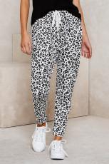 Beyaz Casual Skinny Leopar Desenli Pantolon