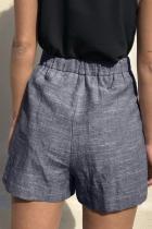 Sininen Solki Vyötärö Rento liinavaatteet taskuilla