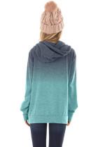 Blå Ombre Pullover-hættetrøje med langærmet