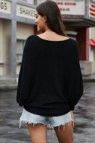 Μαύρο Chillaxin Dolman Knit πουλόβερ