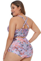 Plus Size Multicolor Neck Detail Swimwear in due pezzi