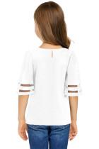 Blusa con panel de malla de manga campana 3 / 4 de White Girl