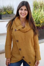Mustard Buttoned Wrap Pulover Turtleneck