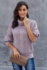 Lila Chunky Turtleneck-tröja