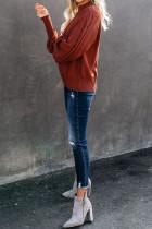 빨간 집들이 케이블 니트 풍선 소매 스웨터