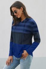 Blauwe kleurblok hoodie met trekkoord