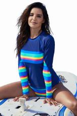 Costume da bagno Tankini a manica lunga blu scuro a righe arcobaleno