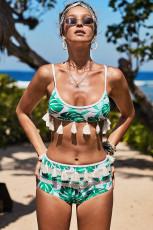 Hvit Tropisk Print Tassel Høy Midje Bikini