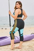 Égkék színű blokkos javítás plusz méretű szörfözéses bőrkiütés-védő