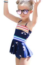 Strój kąpielowy dla małych dziewczynek z nadrukiem w tęczowe paski