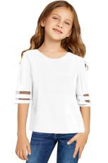 Biała bluzka z siatkowym rękawem 3 / 4 z białą dziewczyną