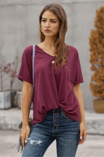 Burgundy Plain Short Sleeve Twist Tee