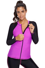 Fuchsia Black Colorblock Zip Down Rashguard بالا