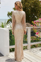 Apricot Sequin Fringe Sleeve Party Maxi Aftonklänning