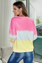 Pink Color Block Tie Dye Pullover-tröja