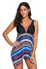 Multicolor V Neck Striped Swimsuit Tankini Hem Asimetris