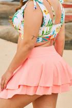 Różowa spódnica plażowa z falbanami