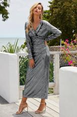 Stříbrný dlouhý rukáv V krku Twist Ruched Sequin Party Maxi šaty
