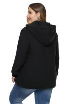 Plus-size hoodie met zwarte hals en trekkoord
