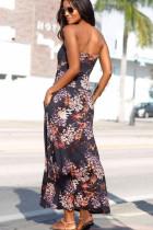 Mor Bohemian Bandeau Çiçek Baskı Maxi Elbise