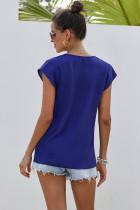Blaue, kurzärmlige, bedruckte Neck Shift-Bluse