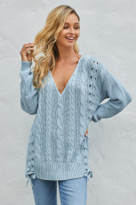 Sky Blue Love Letters Cable Knit Lace Up Sweater