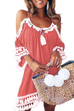 Pink Boho Tassel Tunic Cover up