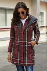 브라운 빈티지 체크 무늬 퀼트 트렌치 코트
