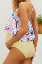 ชุดว่ายน้ำวันพีช Ruched Maternity สีเหลืองลายดอกไม้