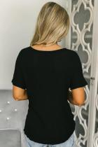 Black Button Down Front Knitwear Blouse Blind