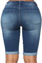 Take Me To The Beach Blue Wash Bermuda Shorts