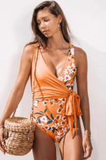 Self Tie Straps Floral Deep V Wrap One Piece Swimsuit